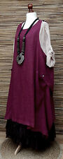LAGENLOOK LINEN OVERSIZE QUIRKY LAYERING 2 POCKETS LONG TUNIC-DRESS*BEET*L-XL-XX