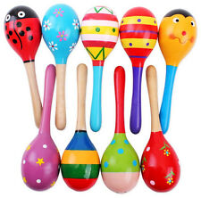 1pcs Baby Kid Percussion Toy Wooden Egg Rattle Maracas Instrument Music Shake