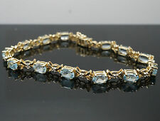 "9Carat Yellow Gold 7.25"" Aquamarine & Diamond Tennis Bracelet (4mm Width)"