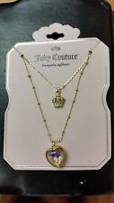 NWT Juicy Couture Gold-Tone Layered Heart Shaker & Crown Pendant Necklace