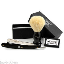 HARYALI STRAIGHT CUT RAZOR+WILKINSON BLADES BADGER BRUSH GIFT FOR MEN