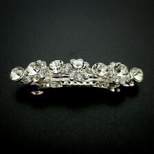 Small Silver Rhinestone Flowers Jeweled Crystal Barrette Wedding Thin Hair Clip