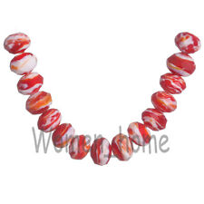 10Pcs 12x8mm Faceted Stripe Glass Crystal Rondelle Lampwork Loose Spacer Beads