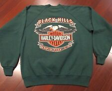 VINTAGE ORIGINAL HARLEY DAVIDSON SWEATER RAPID CITY, S.D XL GREEN