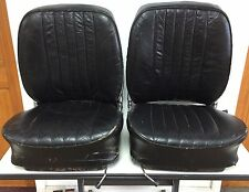 PAIR ORIGINAL GENUINE PORSCHE 356B T-6 RECARO BLACK LEATHER BUCKET SEATS