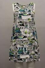 LANTANA CASUAL LINEN SLEEVELESS V TANK TUNIC DRESS CITY PRINTS XL 16- 18 NWT $78