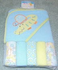 ~NWT Boys CUTE PIE Zoo Animals Hooded Towel & 5 Wash Cloths Cute FS:)
