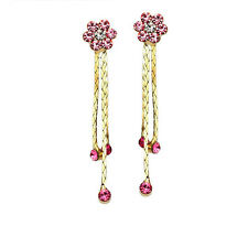 Austria Crystal Drop Dangle Stylish Elegant Sparkly Pink Gold Flower Earrings