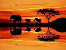 ART PRINT POSTER PHOTO AFRICAN ELEPHANT SILHOUETTE SUNSET LFMP0149