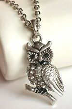 Silver Plated Owl Necklace Pendant Clear Crystal Bird 20-22 inches USA Seller