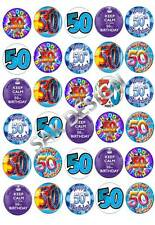30 X  50th Birthday cup cake topper on  Edible Rice/Wafer Paper