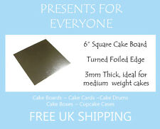 "1 x 6"" Inch Square Silver 3mm Cake Board Weddings, Birthdays  FREE UK SHIPPING"