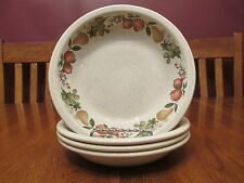 "Four Lovely Wedgwood Quince 7 3/8"" Coupe Soup Bowls Fruit Design Speckled Bowls"