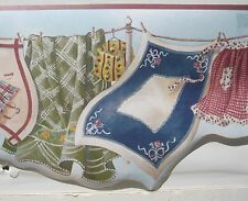 """LAUNDRY WASH on the LINE Wallpaper Border 9"""" red"""