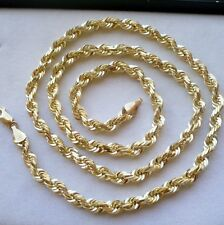 "4.5MM 10K SOLID GOLD MEN'S DIAMOND CUT ROPE CHAIN NECKLACE 22"" FREE SHIPPING"