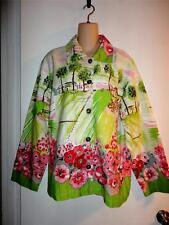 KAREN HART Gorgeous Artsy Print Jacket Beaded Trim Size XXL