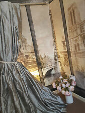 "NEW! Sublime Huge 100% Pure Silk Pewter Dupion Pair 93""D 50""W Lined Bay Curtains"