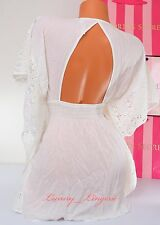 VS VICTORIA'S SECRET 100% Viscose Open Back Crochet Cover-Up Dress S Small Ivory