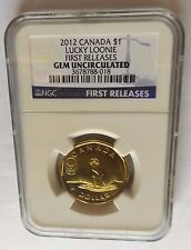 2012 CANADA NGC FIRST RELEASES GEM UNCIRCULATED LUCKY LOONIE 1 DOLLAR!!!