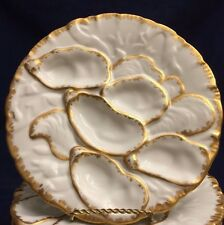 Original Antique Limoges Oyster Plate circa 1800's France 5 Well Turkey Design