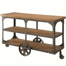 Coaster Industrial Sofa Table in Rustic Brown