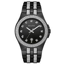 New Bulova 98B251 Black Ion Stainless Steel Swarovski Crystal Date Men's Watch