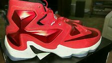 Nike Lebron XIII 13 Red White James Flywire $200 807219-610 Mens US 14 Eur 48.5