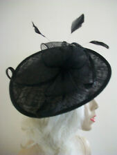 NEW Black Wedding Saucer Hat Formal Ladies Fascinator Womens Teardrop Oval Disc