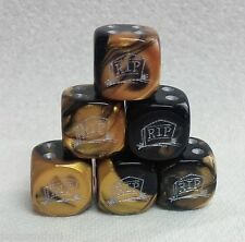 "DICE *6* 16mm -""R.I.P."" ON TOMBSTONE IS ETCHED INTO GEMINI BLACK/GOLD w/SILVER"
