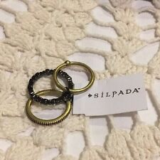 ❤️SILPADA K&R DESTINATION STACK Set 3 Brass Stackable Band Rings Sz 9 NWT