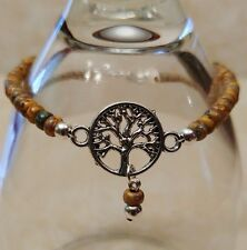 "Native American Bracelet Picasso Seed & Silver Beads ""Tree of Life"" Cherokee"