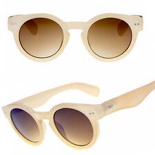Classic Beige épais ronds steampunk lunettes de soleil lentille sombre des années 50 vintage rétro années 40