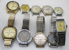 LOT OF 10 VINTAGE MENS SWISS WRISTWATCHES WATCH PARTS REPAIR