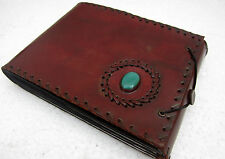 Green Stone Bound Leather Scrapbook Handmade Photo Collection Album