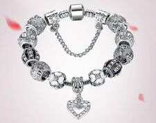 925 Silver Plated Heart Charm Bead Pendant Swarovski Crystals Bracelet Bangle