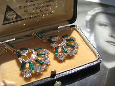 "Vintage ART DECO Ohrhänger Simili "" Smaragd Brillianten "" earrings ohrringe"