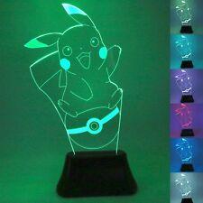 3D LED Pokemon Go Pikachu Bulb Illusion USB Desk Table Light Lamp 7 Colorus