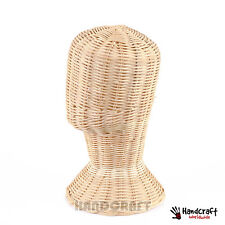 "12"" Vintage Wig Head Display Stand Rattan Wicker Hat Mannequin Sunglass female"