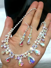 Multi Color Aurora Borealis Crystal Rhinestone Teardrop Wedding Necklace Bridal