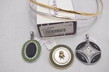 "Lia Sophia TRISH 17"" Reversible SILVER/GOLD Omega Necklace 3 slide pendant Lot"
