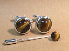Tiger's Eye Cufflinks, (round, 16mm), with a Cravat/Tie Pin in a Silver finish.