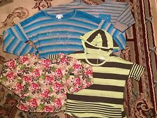 4 Pc Girl's Lot Of Clothing 7-8T T-Shirts Butterfly Lace Roses SUMMER Spring USA