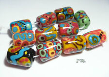 CORONA Lampwork Beads Handmade Squash Blue Green Red Black Bold Bright Cylinders