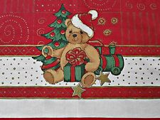 "VINTAGE WEBSCHATZ CHRISTMAS DECORATION TEDDY BEAR CANDLE RED 39"" x 64""TABLECLOTH"
