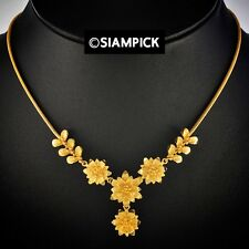 18 inch Thai Baht 22K 24K Yellow Gold Plated Flower Pendant Chain Necklace N047
