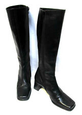 sz 6 / 36 JOANNE MERCER black leather tall knee-high Boots fab quality AS NEW!