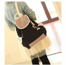 Korean style Leisure Canvas School Bag Stripe and Bow Backpack for Students