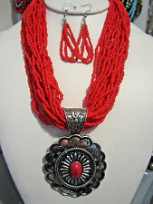 Multi Strand Red Glass Seed Bead Silver Tone Oval Pendant Necklace Earring