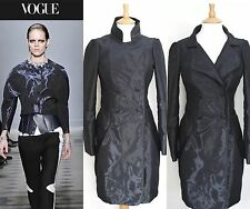 Balenciaga Shiny Wet Look Grey Navy Structured Coat Fall 2008 UK 8