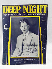 1929 DEEP NIGHT Sheet Music - RUDY VALLEE Cover Charlie Henderson